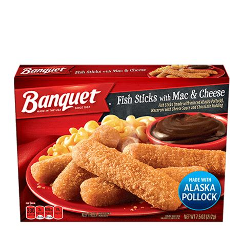 Fish Sticks fish sticks with mac cheese and pudding banquet