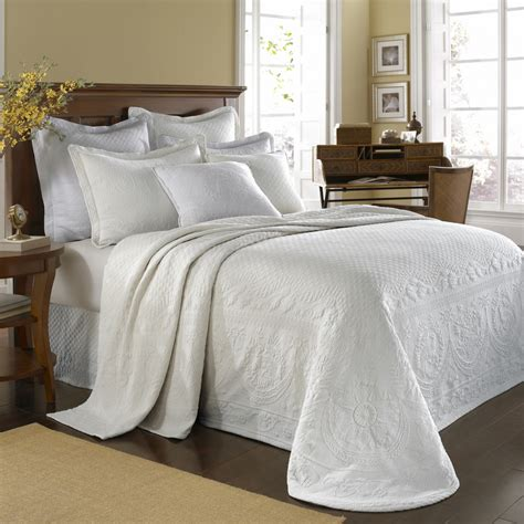 white bed coverlet white king charles matelasse bedspread and coverlet