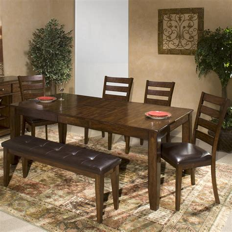 dining bench with wood seat by intercon wolf 6 piece mango wood dining room set by intercon wolf and