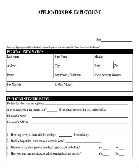 employment application template pdf 49 application form templates free premium templates
