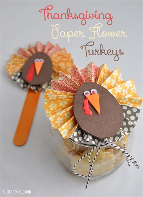 How To Make A Turkey On Paper - thanksgiving paper flower jar gift idea