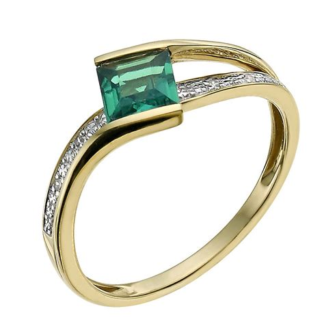 9ct yellow gold emerald ring ernest jones