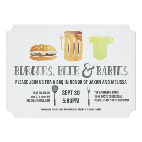 What Is A Couples Baby Shower by Burgers And Babies S Baby Shower Invitation