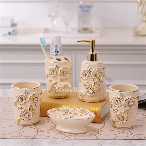 5 piece carved beige ceramic bathroom accessories sets