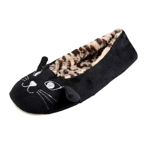 cat slippers velour cat ballet style slipper with fluffy leopard
