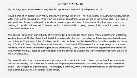 Landscape Photography Artist Statement Photography Artist Statement