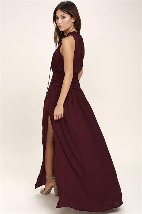 Maxi Syari Cammelia Marron lovely burgundy maxi dress sleeveless maxi dress satin
