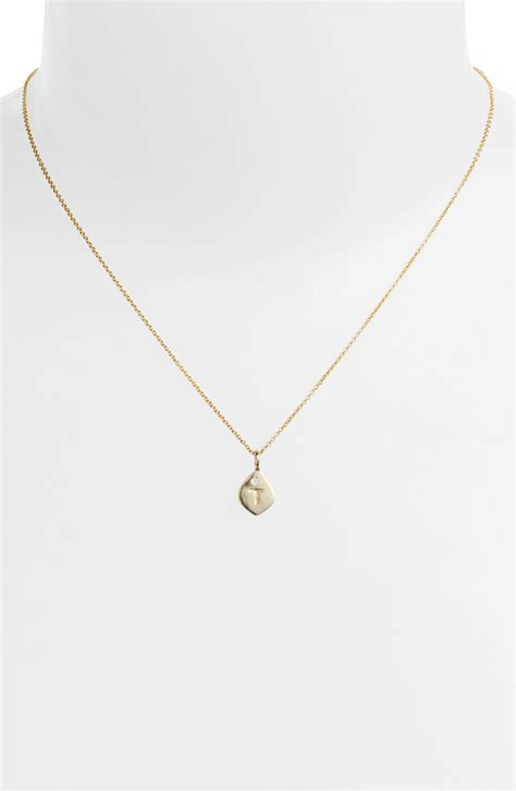 nunu designs small initial pendant necklace in gold t