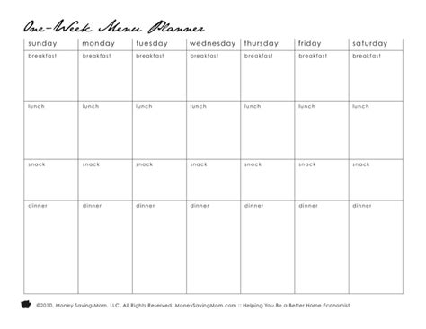 daily meal planner template nanny daily meal planner for free tidyform