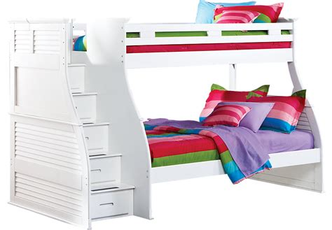 bunk beds rooms to go belmar white 4 pc twin full step storage bunk bed bunk