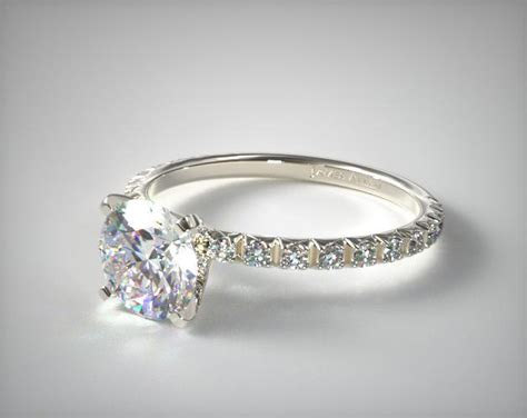 thin cut pave set engagement ring