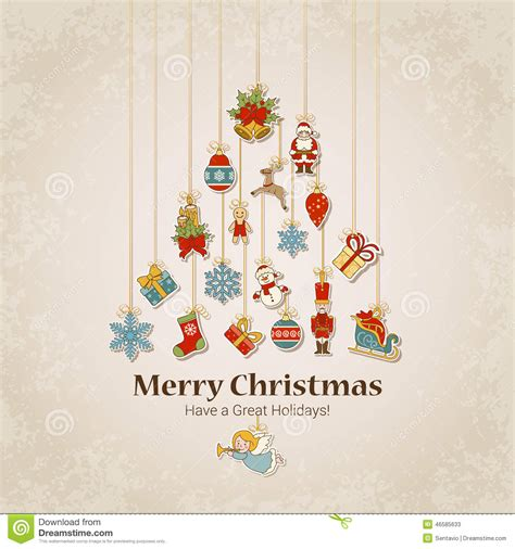 decorative objects  christmas tree silhouette stock vector image