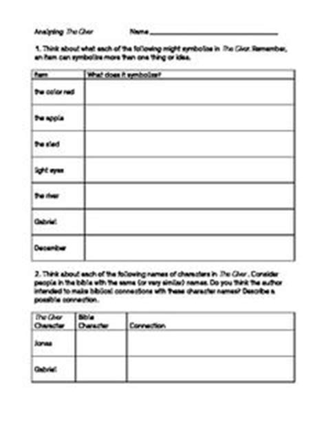 symbolism in the great gatsby worksheet answers 1000 images about giver lesson plans on pinterest the