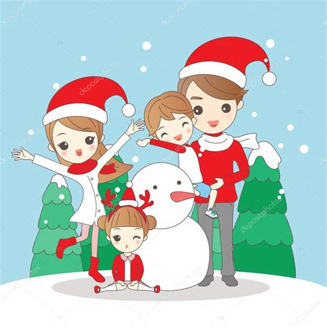 imagenes de navidad muñecos animados familia de dibujos animados de navidad vector de stock