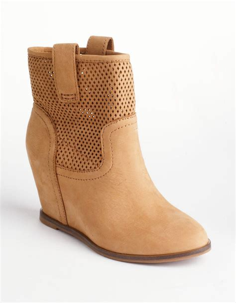 lucky brand keno leather coveredwedge ankle boots in brown