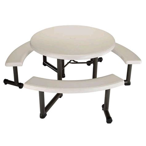 lifetime bench table lifetime 44 in round picnic table with 3 benches 22127