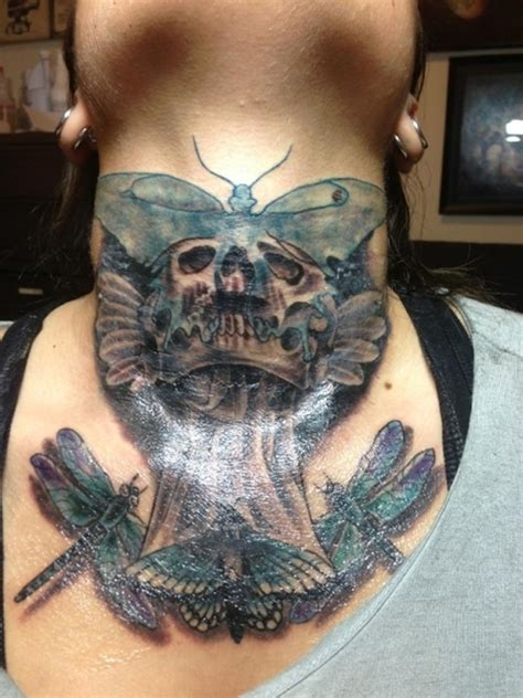 butterfly skull tattoos 63 beautiful neck butterfly tattoos