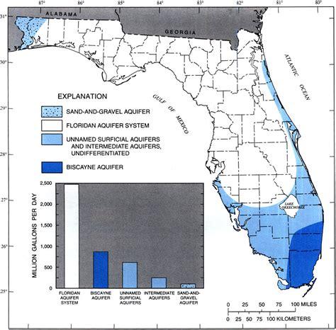 florida aquifer map extent of principal aquifers in florida 1995
