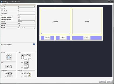 static layout canvas awt gridbaglayout help