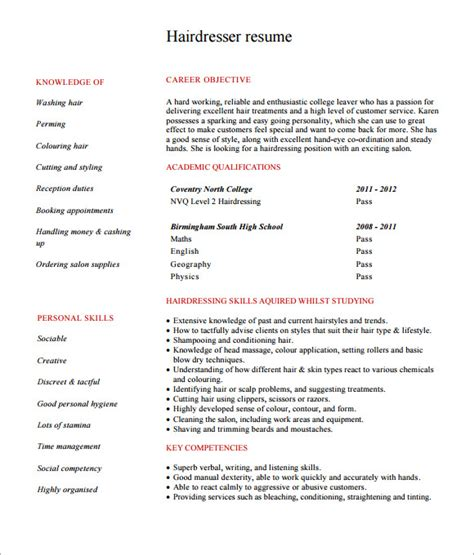 hairdressing resume template sle hairdressing cv template 7 documents in pdf