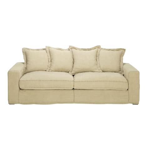 Linen Sleeper Sofa by Linen Sofa Bed Seats 3 4 Barnabe Barnabe Maisons Du Monde