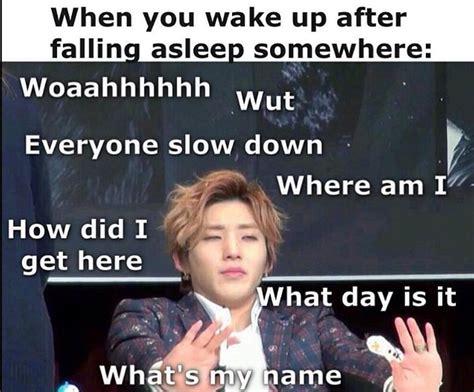 Bap Memes - jongup b a p waking up sleep confusion