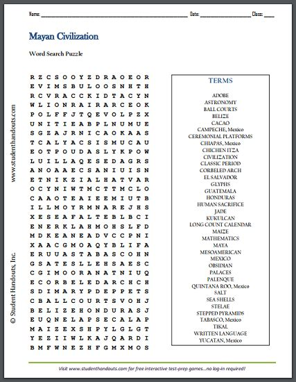 printable word search social studies civilization of the ancient maya word search puzzle free
