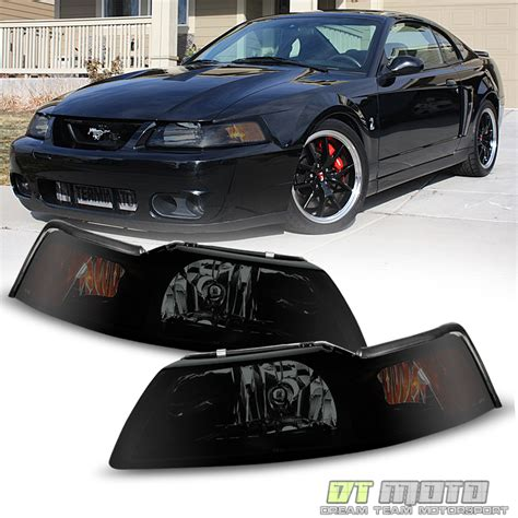headlights for 2000 mustang black smoked 1pc 1999 2000 2001 2002 2003 2004 ford