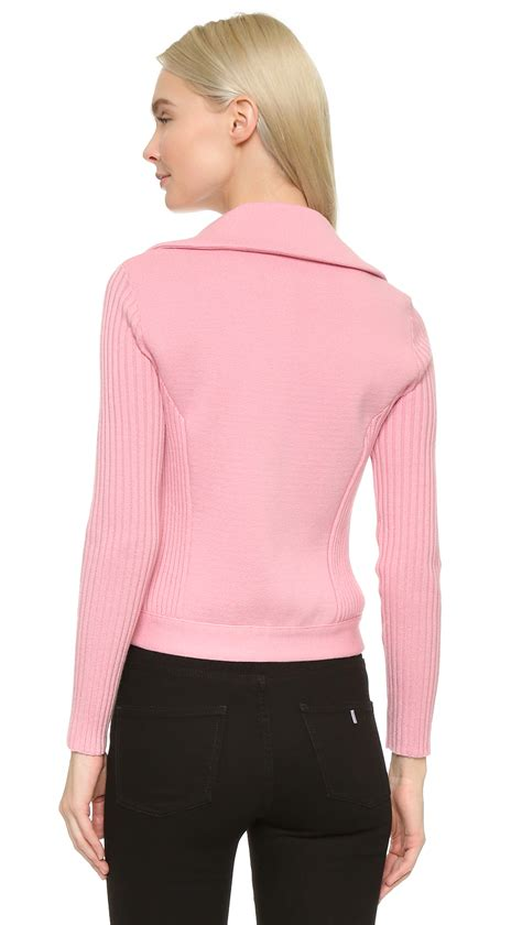 Jacket Sweater Mtma Pink boutique moschino moto sweater jacket in pink lyst