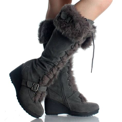 suede winter boots for gray suede fur winter lace