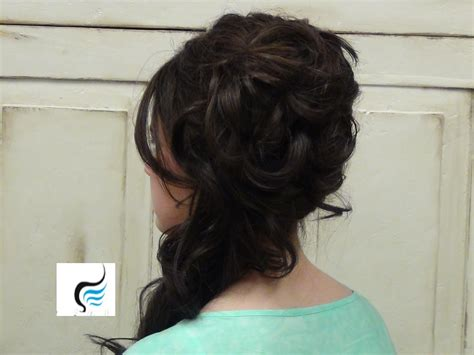 homecoming hairstyles off to the side cascading side updo for long hair prom or weddings