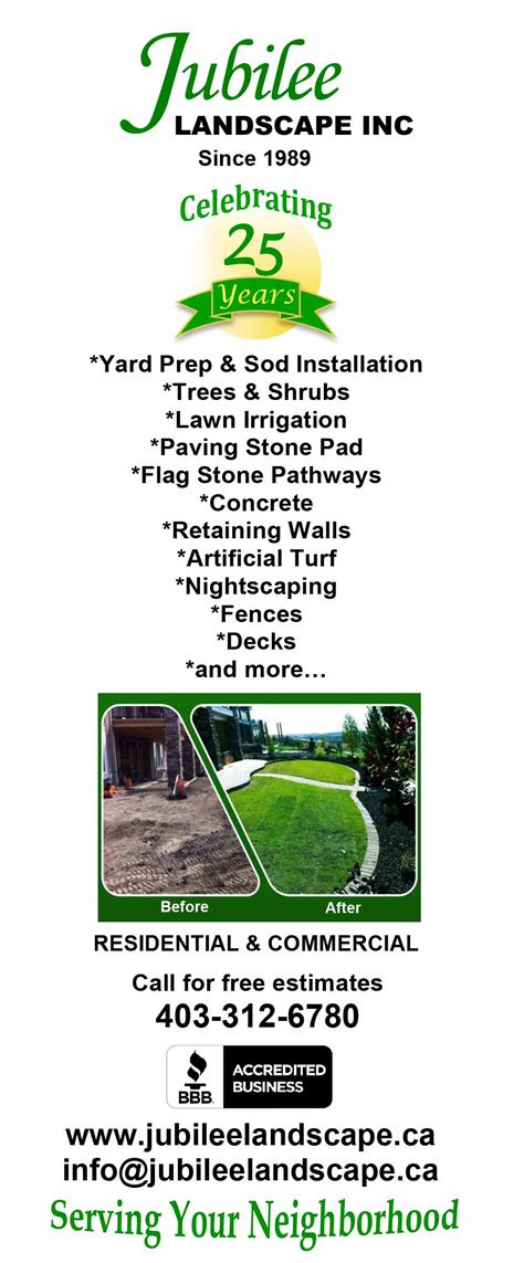Price List Jubilee Landscape Inc Landscaping Services List