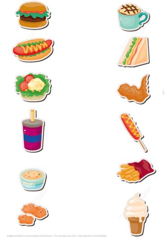 food papercraft template fast food stickers free printable papercraft templates