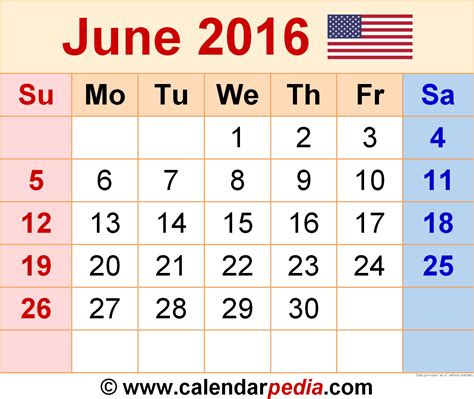 Calendar May And June 2016 June 2016 Calendars For Word Excel Pdf