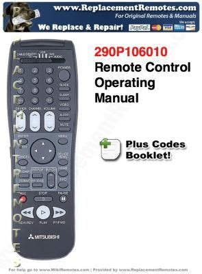 Mitsubishi Remote Codes Buy Mitsubishi 290p106010 Programming And Codes