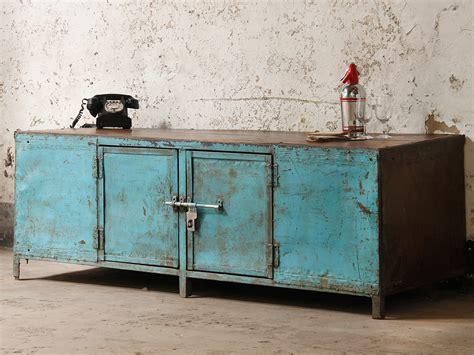 vintage industrial metal and wood sideboard sold