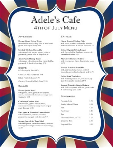 4th Of July Menu Template by Customize July 4th Menu