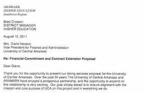 Letter Contract Vs Uca Uca Aramark Contract Renewal Offer Nwaonline