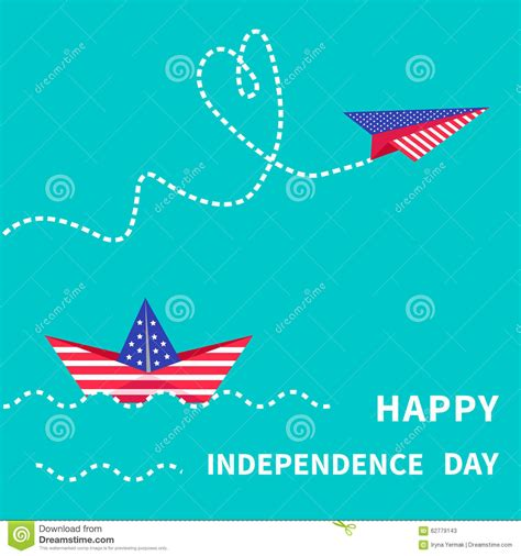 Independence Day Usa Essay by Happy Independence Day United States Of America 4th Of July Paper Boat Dash Line