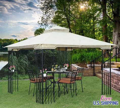 details about metal fabric gazebo canopy outdoor patio