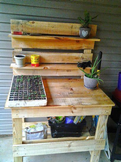 pallet garden work bench pallet garden workbench palletpottingbench recycled