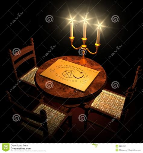 tavole spiritiche table with ouija board and candles stock image image