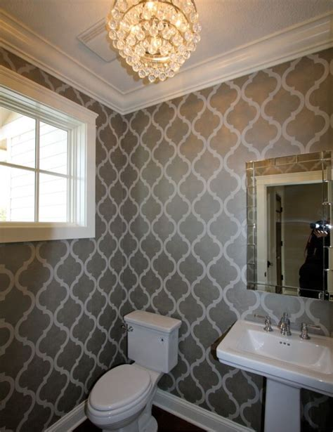 Bathroom With Wallpaper Ideas Floor Bathroom Wallpaper Decorating Ideas Pinterest