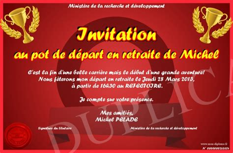invitation au pot de depart en retraite de michel