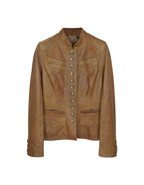 light brown leather jacket womens lyst forzieri light brown mandarin collar leather jacket