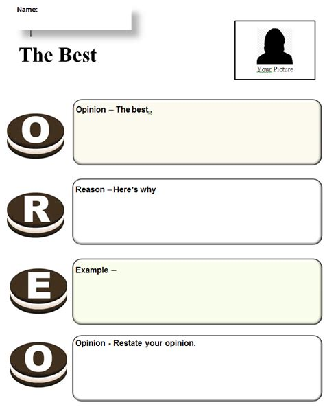 oreo template for persuasive writing common graphic organizer oreo opinion writing k 5