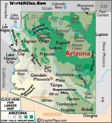map world az geography of arizona world atlas