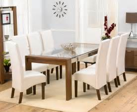 And glass dining table 200cm and 8 marcello ivory dining chairs jpg