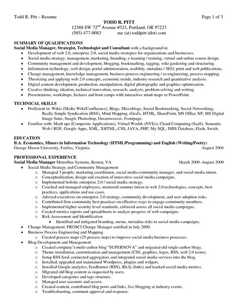 Resume Exles Qualifications Sle Resume Summary Of Qualifications Technical Skills Professional Experience