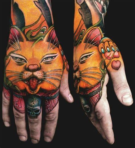 tattoo new school japanese cat hand tattoo hands tattoo pinterest hand tattoos